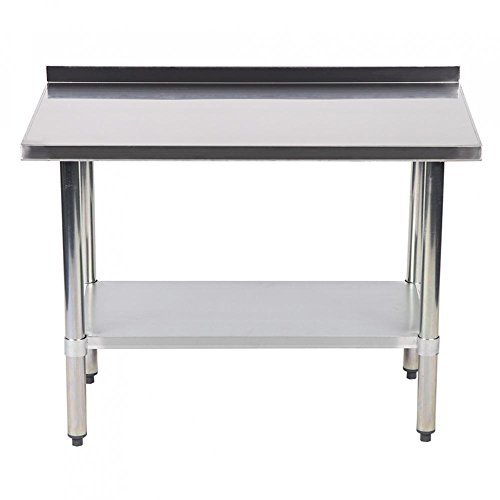 X Inch Stainless Steel Work Table With Backsplash Kitchen - 24 x 24 restaurant table
